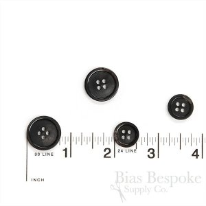 Refined Black Buffalo Horn Suit Buttons, Made in Germany