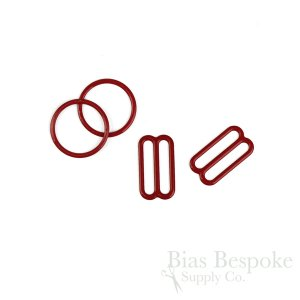 Set of Red Nylon-Coated Metal Rings and Sliders