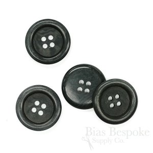 Classic Dark Gray Blue Corozo Overcoat Buttons, Made in Germany