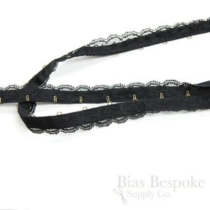 Delicate Lace-Covered Hook & Eye Tape, Made in Italy