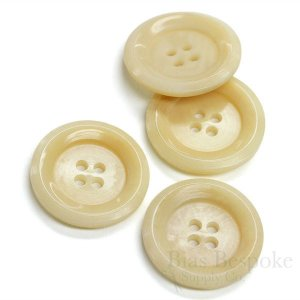 Modern Cream Blonde Corozo Buttons for Suits and Coats, Made in Germany