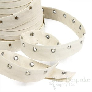 100% Cotton Eyelet Tape with Silver Eyelets, Made in Italy