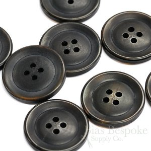 Refined Brownish Black Buffalo Horn Overcoat Buttons, Matte Finish