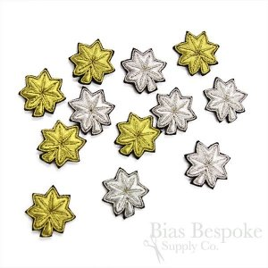Bullion Wire Embroidered Badges: Small Silver and Gold Leaves