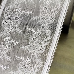 "7"" Wide White Jacobean Floral Lace Trim (Dyeable), Made in France"