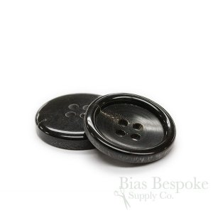Classic Black Genuine Buffalo Horn Suit Buttons, Made in Germany