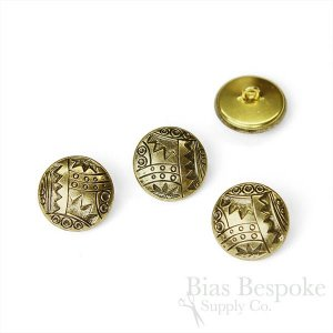 Abstract Modern Art Gold Buttons in Three Sizes, Made in France