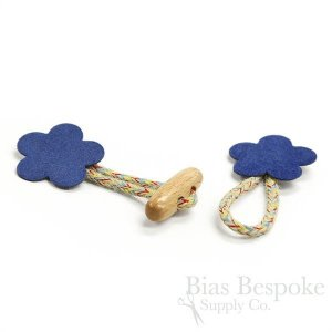 Red and Blue Flower-Shaped Toggle Closures, Made in Italy