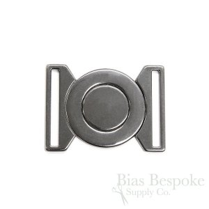 Large and Small Round Interlocking Gunmetal Buckles, Made in Italy