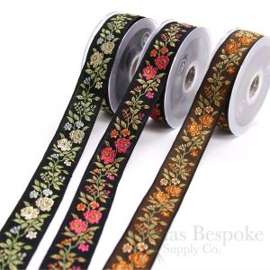 Wild Rose Jacquard Ribbon in Three Colors, Made in Italy