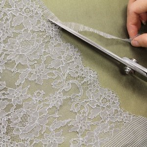 "6 1/2"" Wide Pale Gray Stretch Leavers Lace Trim, Made in France"