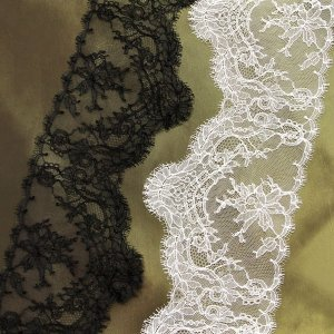 "6"" Wide Exquisite Rigid Black and Off-White Leavers Lace, Made in France"