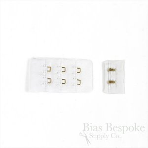 AVA Nylon Bra Hook & Eye Fasteners with Gold Colored Hooks, Made in Italy