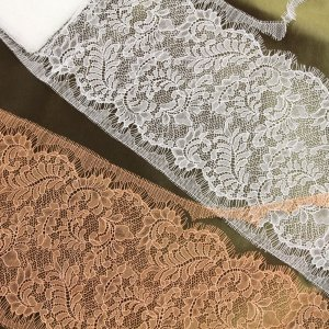 "7"" Wide Stretch Leavers Lace Trim in Two Colors, Made in France"