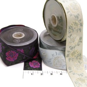 "2"" Wide Jacquard Rose Trim in Three Colorways, Made in Italy"