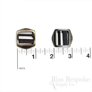 Small Brushed Metal Tailor's Slide Buckles, Made in Italy
