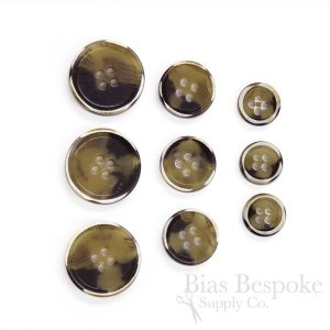 RYKER Tan Modern Burnt-Edge Suit Buttons, Made in Italy