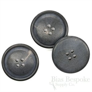 Extra Thick Slate Blue Genuine Horn Overcoat Buttons, Made in Germany