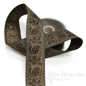 ORIA Lux Antique Gold Floral Jacquard Trim, 50mm, Made in Italy
