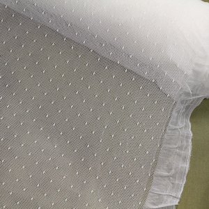 "64"" Wide Off-White Stretch Dot Mesh Fabric (Dyeable), Made in France"