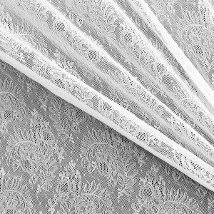 "100"" Wide White Floral Stretch Lace Fabric (Dyeable), Made in France"