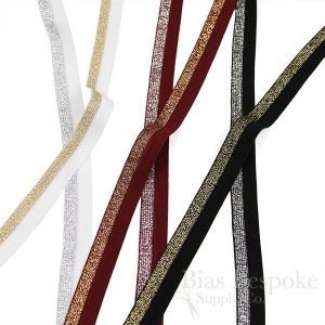 FAYE Metallic Lurex Fold-Over Elastic, Made in Italy