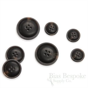 Matte Brown-Black Convex Buttons for Suits and Coats, Made in Italy