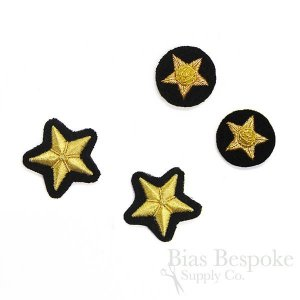 Bullion Wire Embroidered Badges: Small Golden Stars