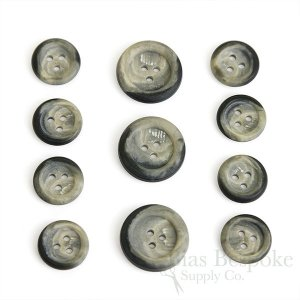 Gray 3-Hole Stone-Effect Suit Buttons, Made in Germany