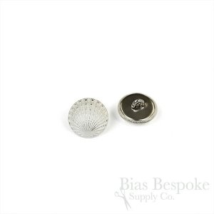 Pale Silver Scallop Shell Buttons in Two Sizes, Made in France