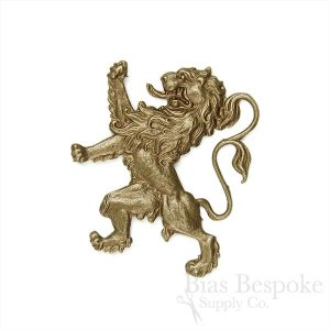 "Stamped 1 5/8"" Antique Brass Lion, Made in France"