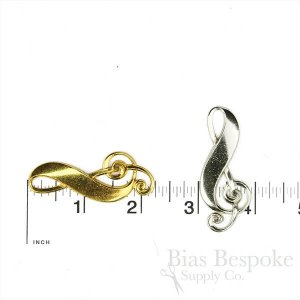 "Stamped Metal Treble Clef, 2 1/4"", Made in France"