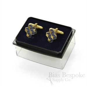 CUBED Tie Bar and Cufflink Set, Gold Color and Blue Enamel, Made in France