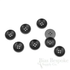 MATSON Black & Gray Concave Horn-Effect Buttons, Made in Italy