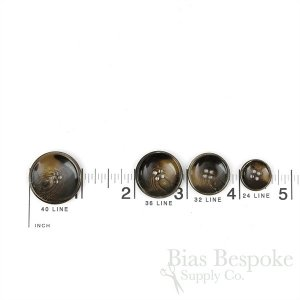 MATSON Dark Brown Concave Horn-Effect Buttons, Made in Italy