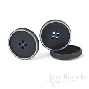 OLIN Matte Navy Blue Buttons with Narrow & Light Ridges, Made in Italy