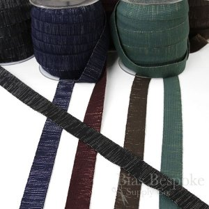 "BARRIS 1"" Wide Wool and Metallic-Threaded Elastic"
