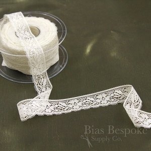 Delicate Cream Lace with Silver Foil, In Three Widths, Made in Spain