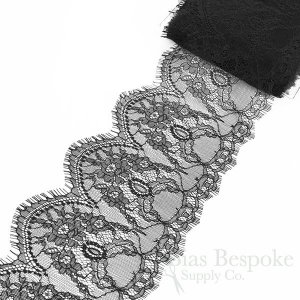 "6"" Wide Rigid Black Floral Eyelash Lace"