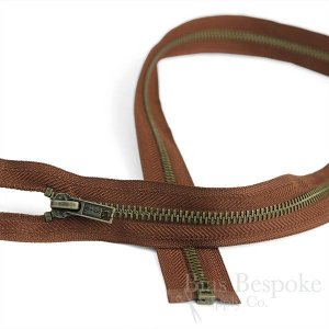 "18"" Length #5 Open End Zippers with Antique Brass Teeth, Bias Bespoke Brand"