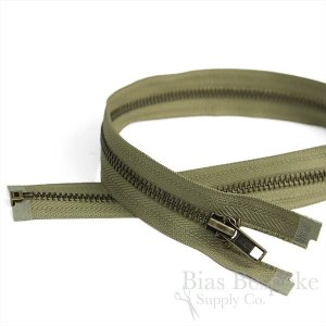 "20"" Length #5 Open End Zippers with Antique Brass Teeth, Bias Bespoke Brand"