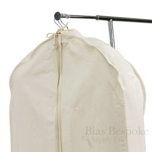 100% Cotton Canvas Gusseted Garment Bag, Short Length for 4-5 Suits