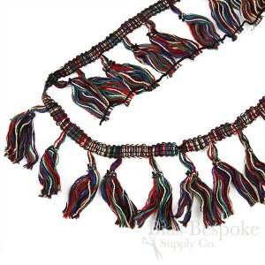 Black and Multi-Colored Tassel Trim, Sold by the Yard
