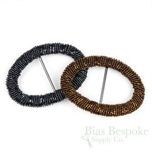 Large Oval AGNES Beaded Buckles for Wide Belts