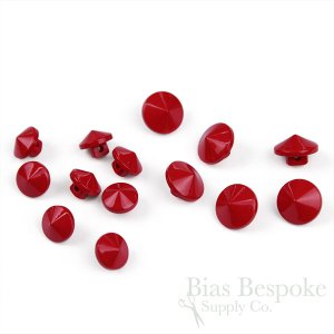 TILLY Small Red Shank Buttons in Two Sizes, Made in Italy