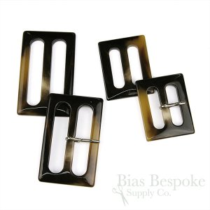 FINESTRA Rectangular Polished Darkest Brown Buckles, Made in Italy