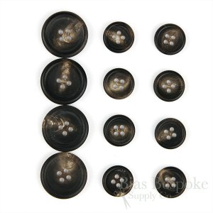 FIRPO Matte Dark Brown Genuine Buffalo Horn Buttons, Made in Italy