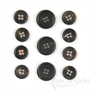 FIRPO Matte Brownish Black Real Buffalo Horn Buttons, Made in Italy