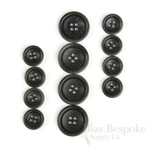 BOGART Classic Charcoal Gray Corozo Suit Buttons, Made in Italy