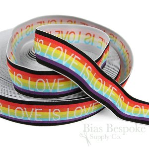 "LOVE IS LOVE 1 3/8"" Wide Rainbow Elastic"